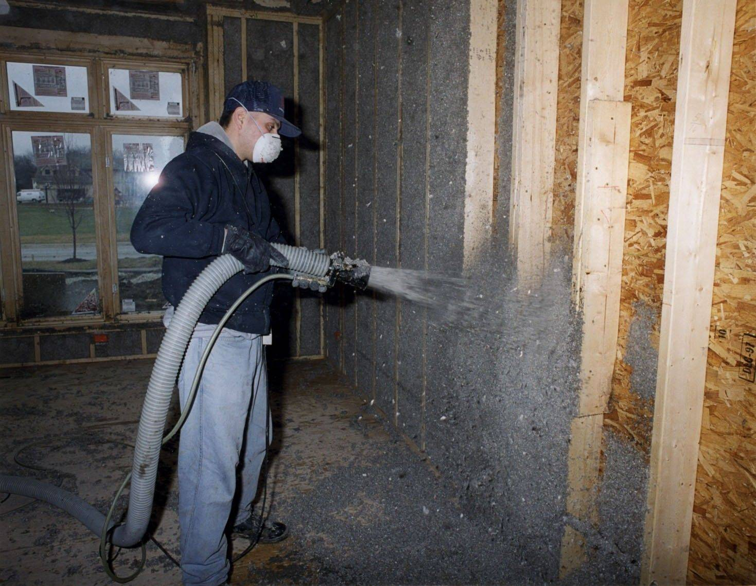 Cellulose blown-in insulation is used by Airhart Construction to seal the wall cavity and better reduce air loss and infiltration.