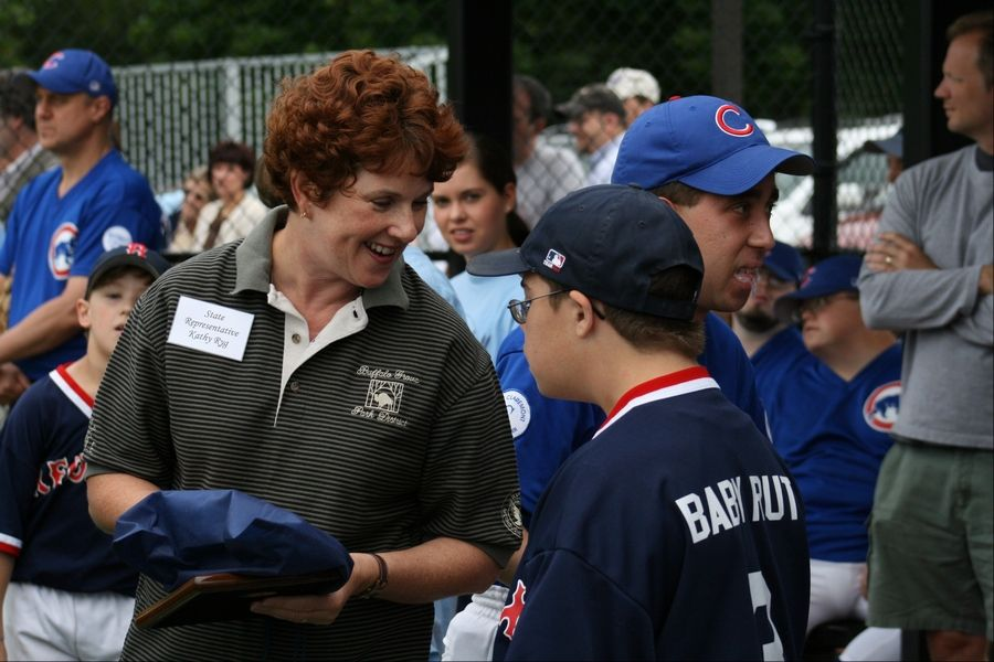 Having built a professional and political career on her work with families and children, Kathy Ryg dedicates a Buffalo Grove Park District field in 2007 featuring games for children with developmental disabilities. She was a state representative at the time.