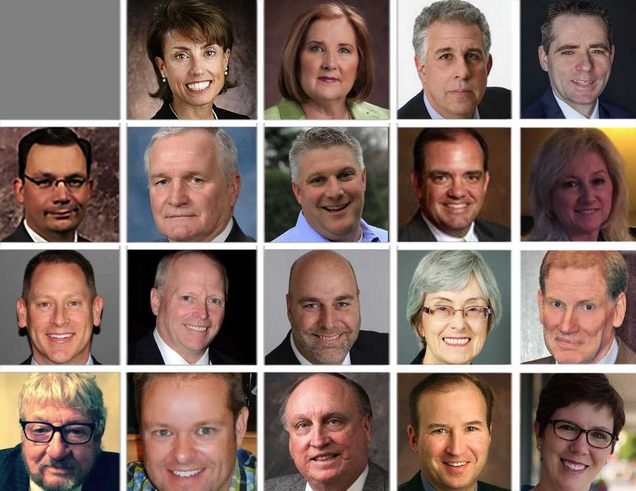 These are the candidates for Naperville City Council. Top row, from left: James Bergeron (not pictured), Rebecca Boyd-Obarski, Judith Brodhead, John Colletti, Kevin Coyne. Second row, from left: Bill Eagan, Dick Furstenau, Wayne Floegel, Kevin Gallaher, Patricia Gustin. Third row, from left: Robert Hajek, Paul Hinterlong, John Krummen, Nancy Marinello, Joseph McElroy. Bottom row, from left: Harry Thomas O'Hale, Steve Peterson, Stephen Purduski, David Wentz, Becky Anderson Wilkins