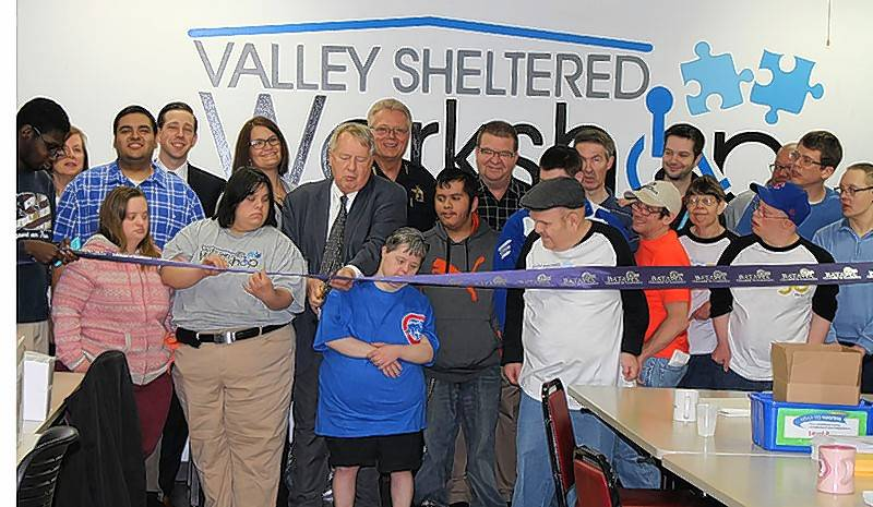 The Batavia Chamber of Commerce, along with Mayor Jeffery Schielke, celebrated the 50th anniversary of the Valley Sheltered Workshop, 325 Main St., Batavia. Valley Sheltered Workshop has been providing job opportunities to individuals with disabilities since 1966.