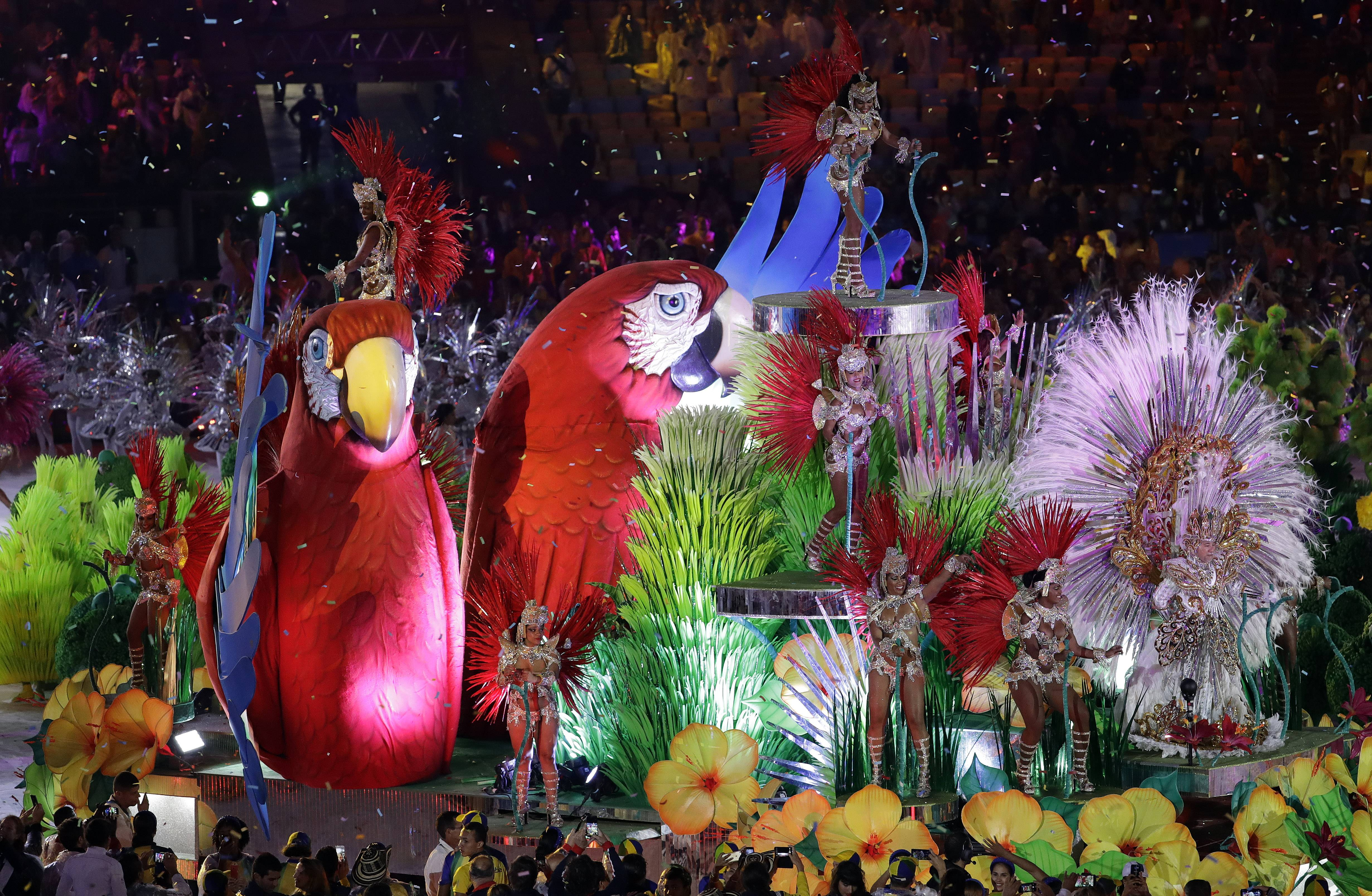 Samba dancers perform during the closing ceremony in the Maracana stadium at the 2016 Summer Olympics in Rio de Janeiro, Brazil, Sunday, Aug. 21, 2016.