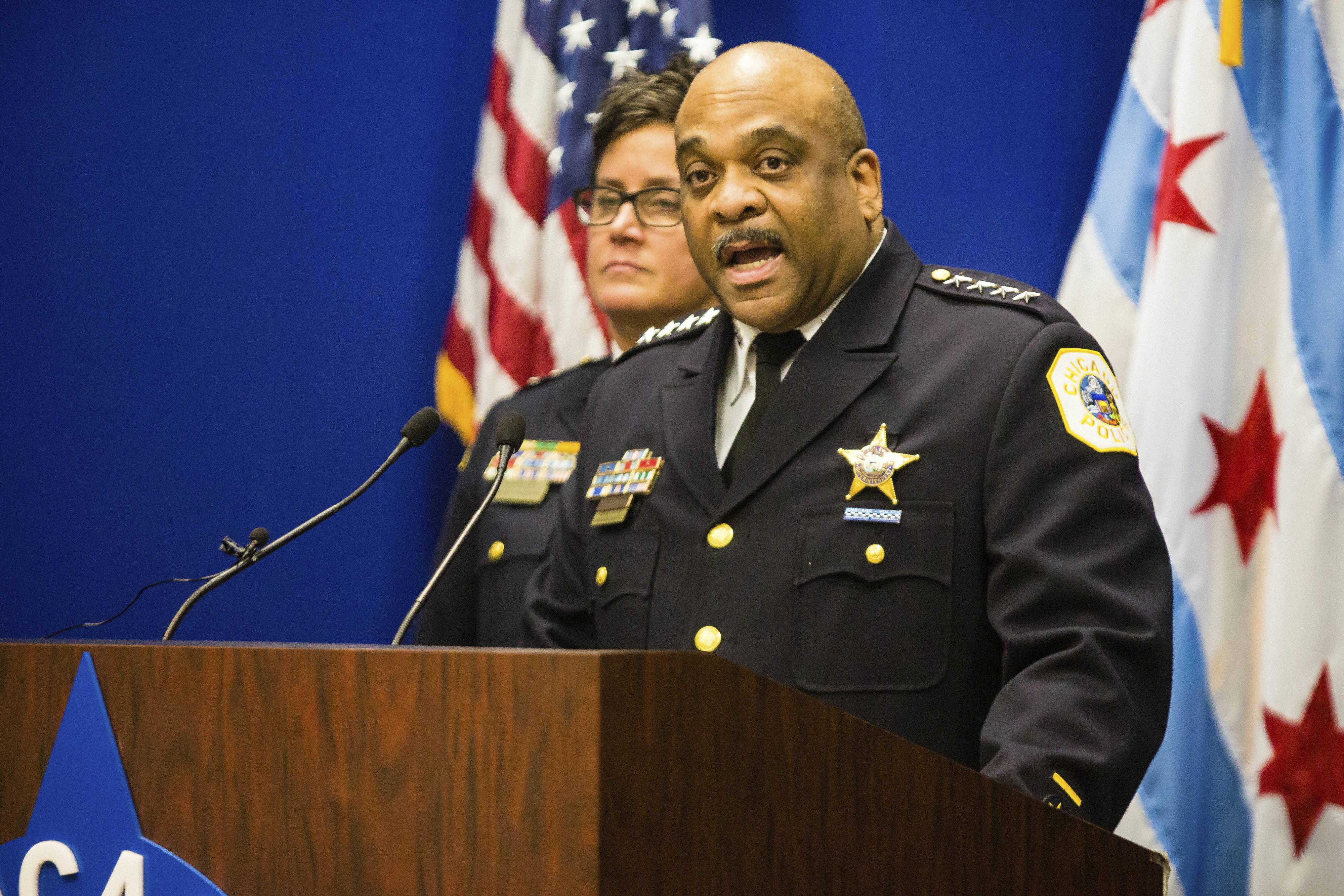 Chicago Police Superintendent Eddie Johnson speaks during a news conference Thursday about hate crime and other charges filed against four individuals for an attack on a man that was captured on a Facebook video.