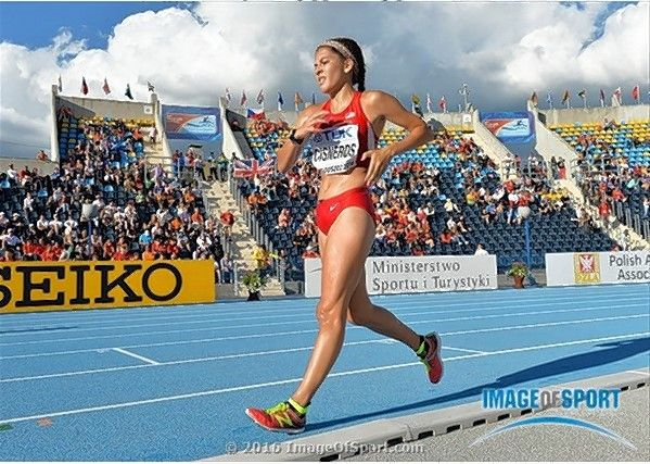 Courtesy of Image of Sport Elgin's Anali Cisneros broke the U.S. junior and high school records in the 10,000-meter women's race walk at the IAAF World U20 Championships in July 2016 in Poland.