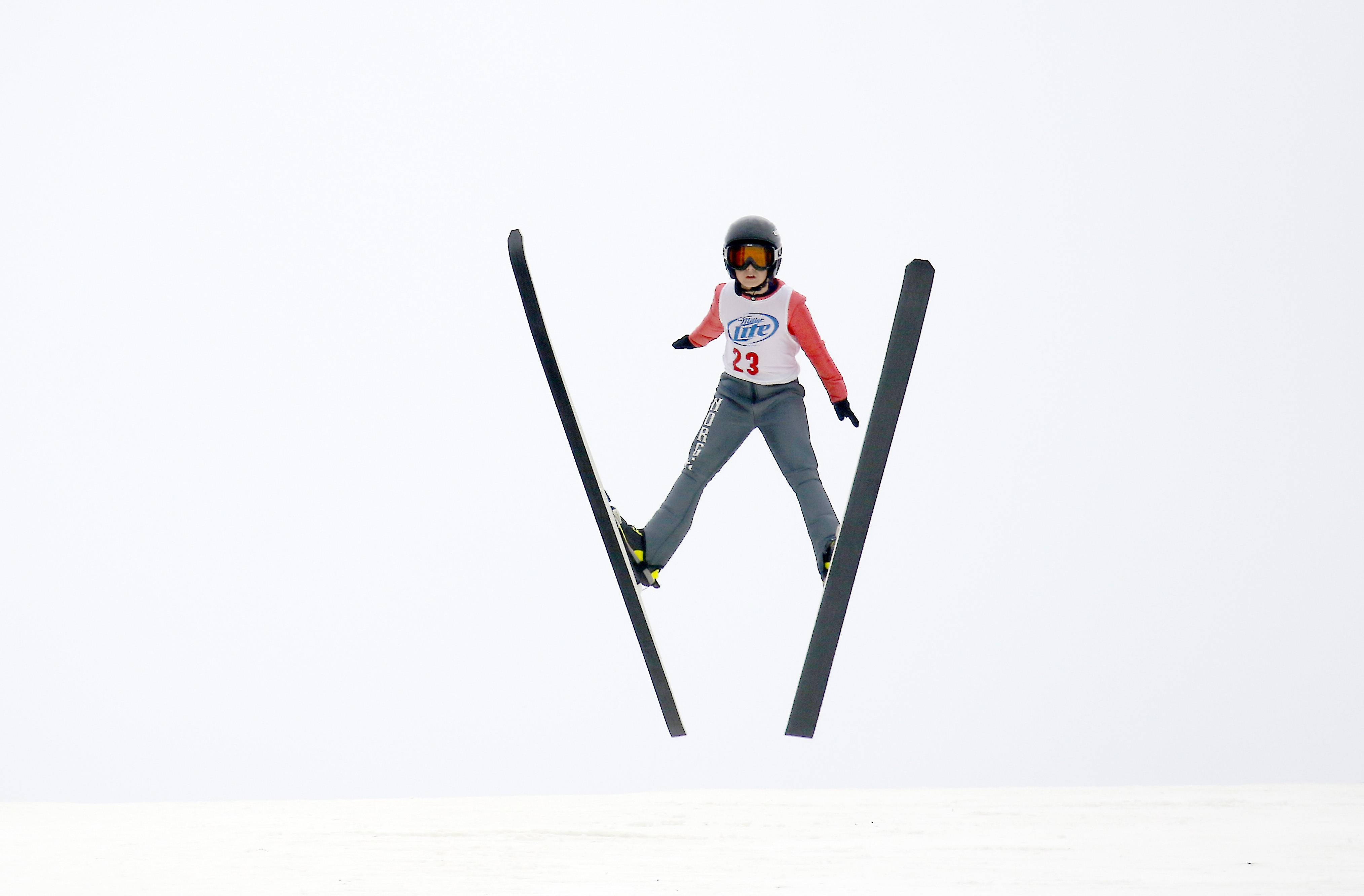 Maxim Glyvka, of Fox River Grove and the Norge Ski Club launches himself from the big hill Saturday during the 112th International Winter Tournament at the Norge Winter Ski Jump Tournament at Norge Ski Club in Fox River Grove.