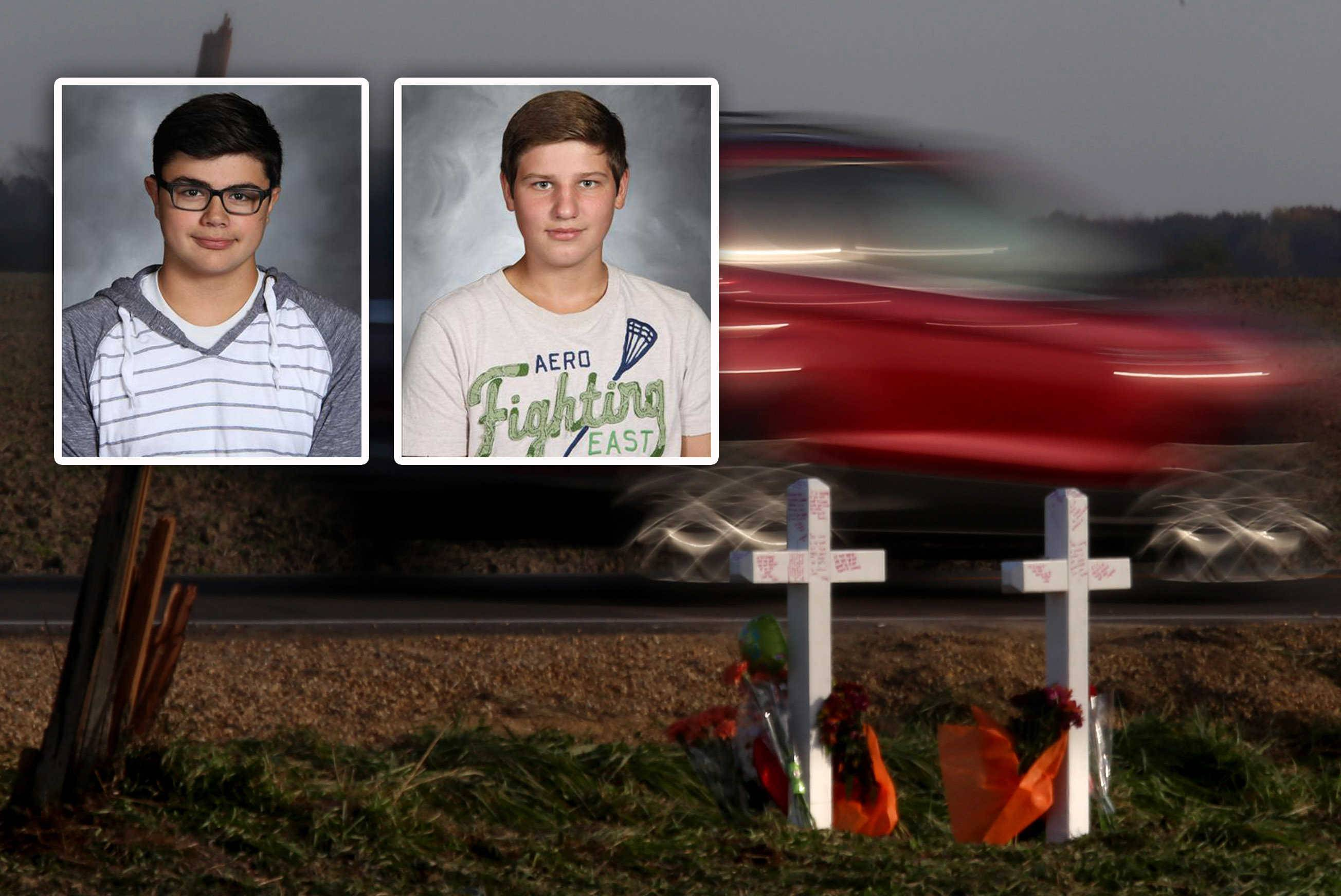 Crosses were erected at Meredith and Beith roads northwest of Elburn for two Kaneland High School juniors -- Arthur Stenger, left, 16, of Montgomery, and Elijah Vajgert, 16, of Maple Park. Vajgert's father is suing Stenger's estate for damages.