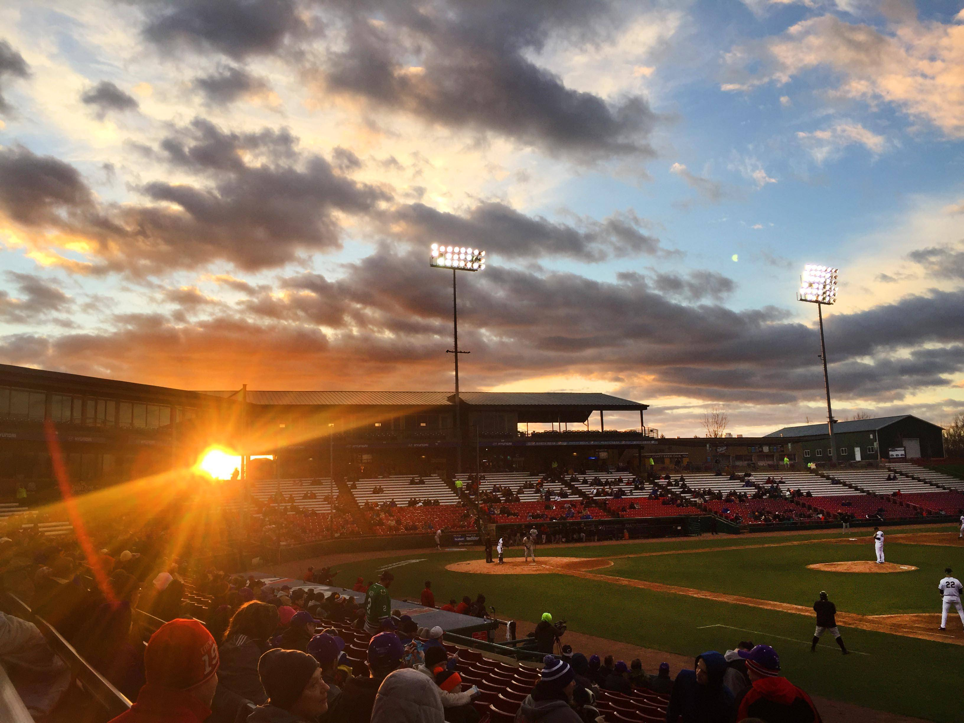 The sun sets Thursday at the Kane County Cougars home opener at Northwestern Medicine Field in Geneva.