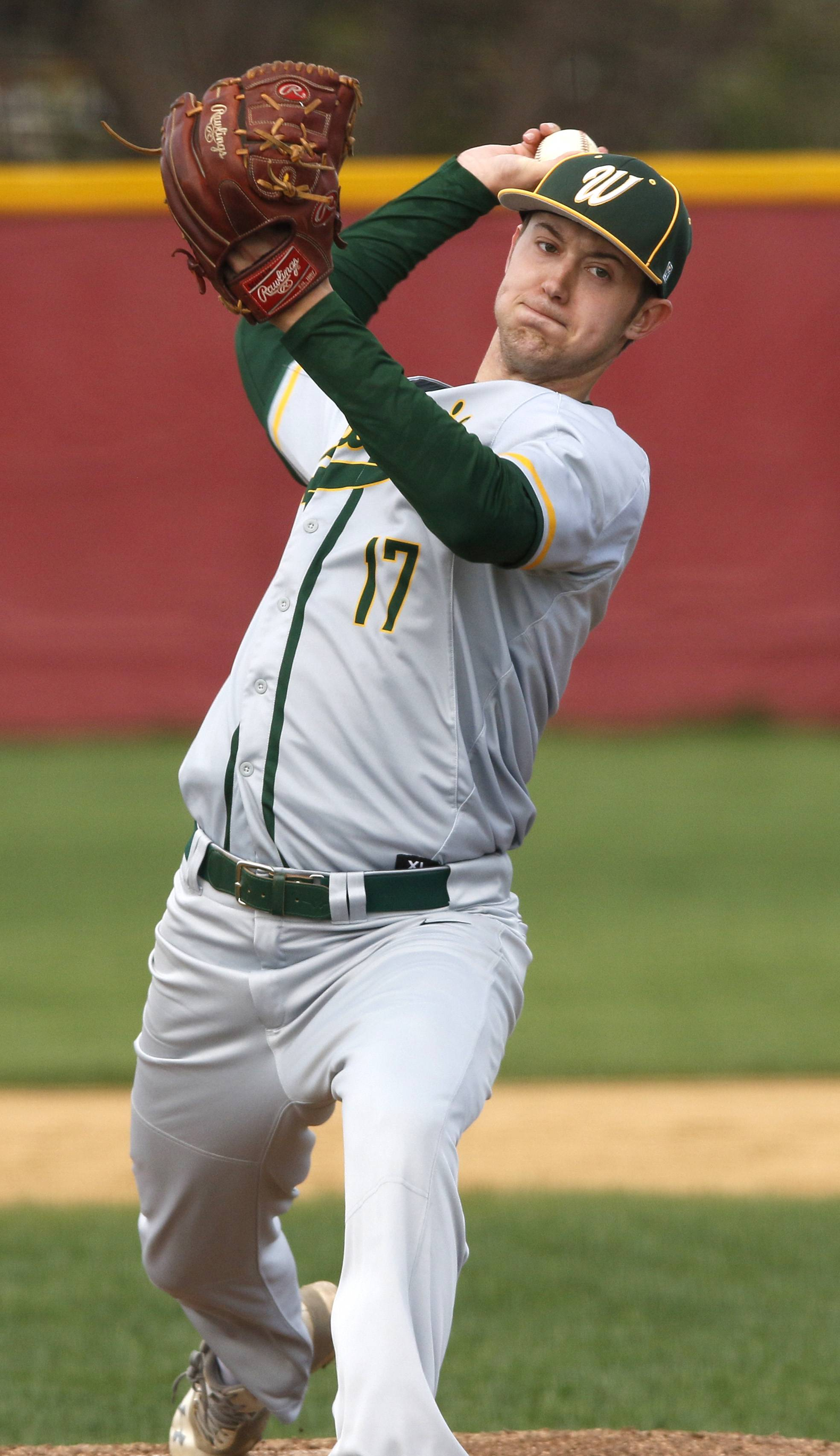 Waubonsie Valley's Alex Schram delivers a pitch against Naperville Central.