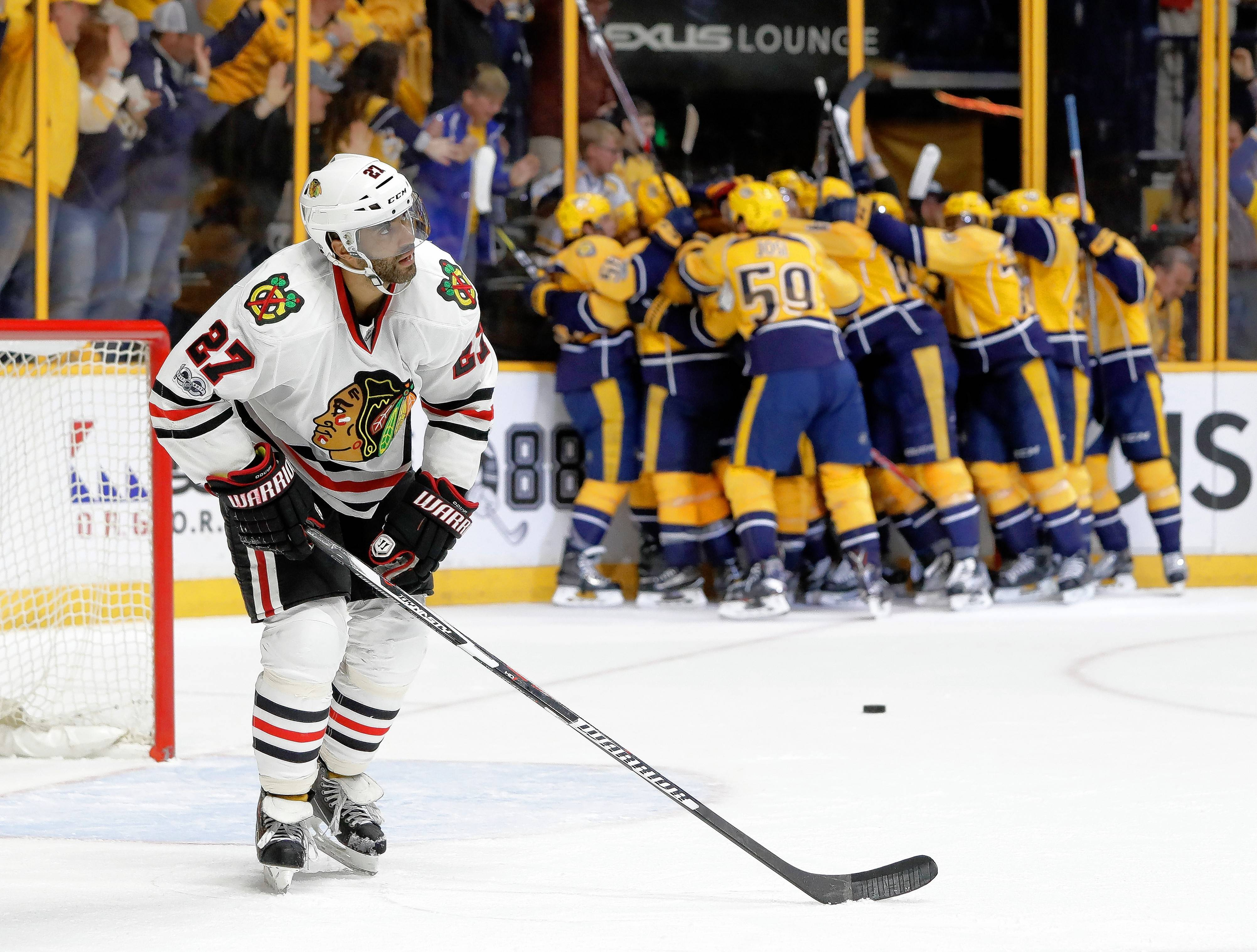 Like many of his teammates, Chicago Blackhawks defenseman Johnny Oduya has not played well in the first round of the Western Conference playoffs against Nashville.