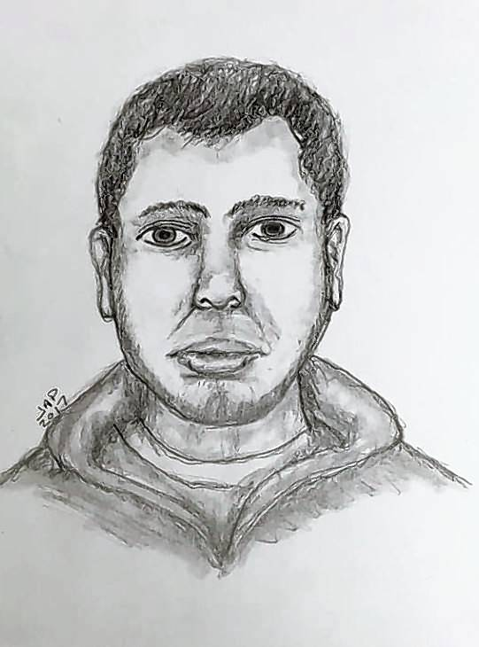 A sketch shows the man suspected in the attempted robbery of a beauty supply store on April 11.