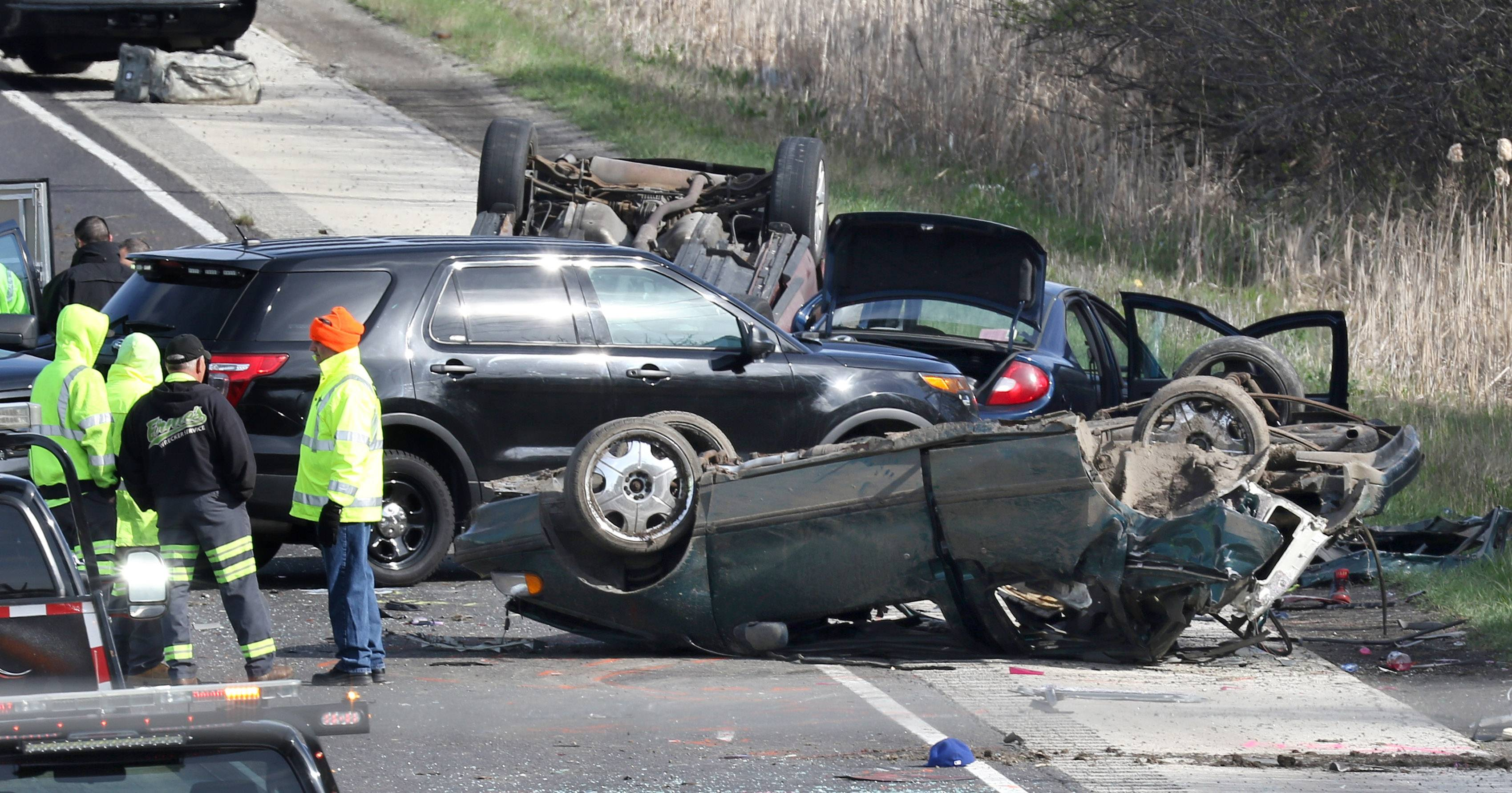 Authorities investigate a fatal accident Friday on Route 41 north of Casimir Pulaski Drive in North Chicago.