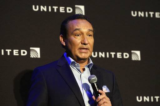 FILE - In this Thursday, June 2, 2016 file photo, United Airlines CEO Oscar Munoz delivers remarks in New York. United Airlines said Friday, April 21, 2017, that its CEO Munoz won't add the title of chairman in 2018 as planned, as fallout continues from the violent removal of a passenger from a plane this month. (AP Photo/Richard Drew, File)