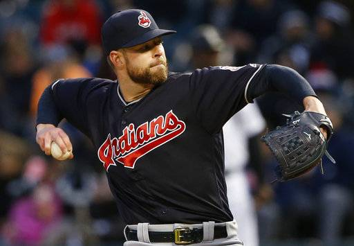 Cleveland Indians starting pitcher Corey Kluber throws against the Chicago White Sox during the first inning of a baseball game Friday, April 21, 2017, in Chicago. (AP Photo/Nam Y. Huh)