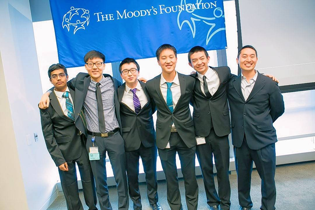 A team of Stevenson High School students won the top prize and $20,000 in scholarships in a national math contest Monday. They are, from left, Deepak Moparthi, Andrew Hwang, Joshua Yoon, Albert Cao, Haoyang Yu and coach Paul Kim.