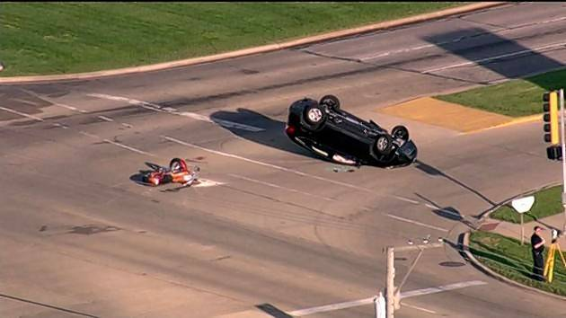 Aurora police responded Tuesday morning to a crash involving a motorcycle and SUV near the intersection of Ogden Avenue and Commons Drive.