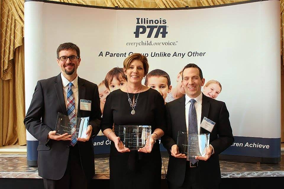The Illinois PTA awarded Jonathan Thomas-Stagg, from left, as its Volunteer of the Year, Mary Beth Knoeppel as Principal of the Year and Jeff Zilke as Teacher of the Year. Knoeppel and Zilke are educators in Palatine Elementary District 15.