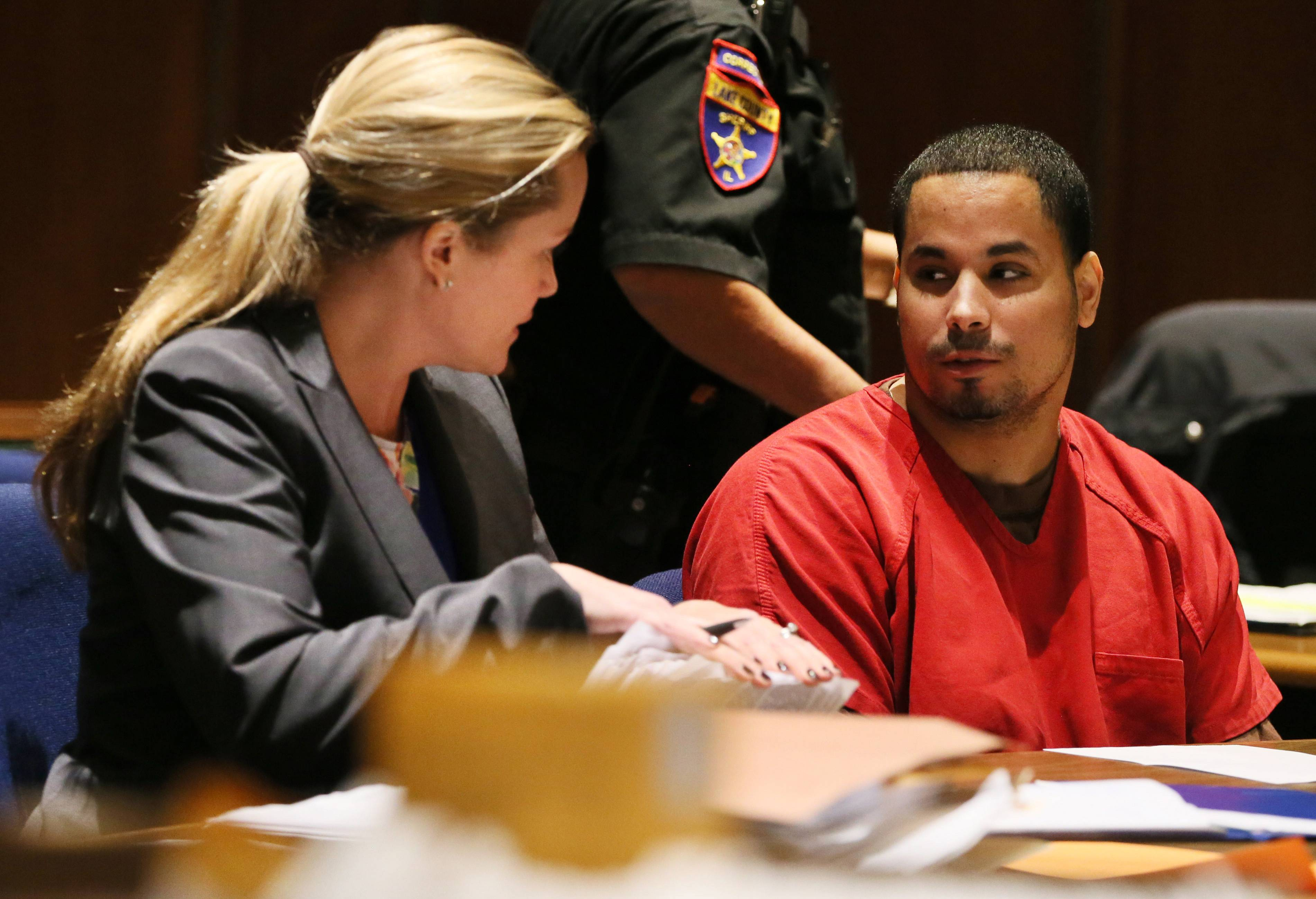 Defendant Jose Reyes, 32, of Chicago, speaks with his attorney Katharine Hatch during his bench trial in Lake County court in October.