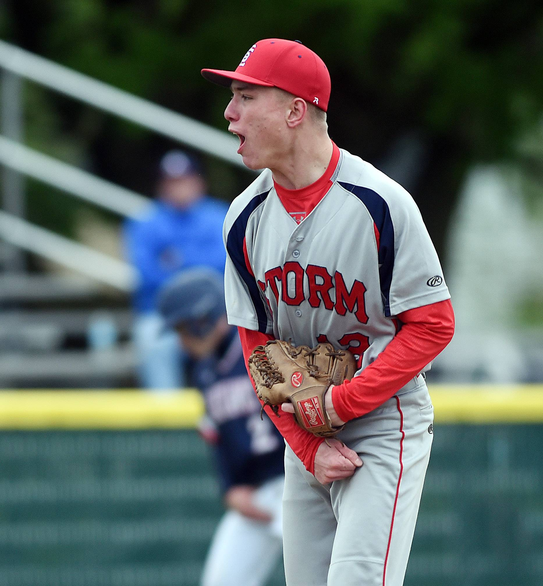 South Elgin pitcher Dylan Wells pumps his fist after a strikeout ends the fifth inning against West Aurora during baseball action in Aurora Thursday.