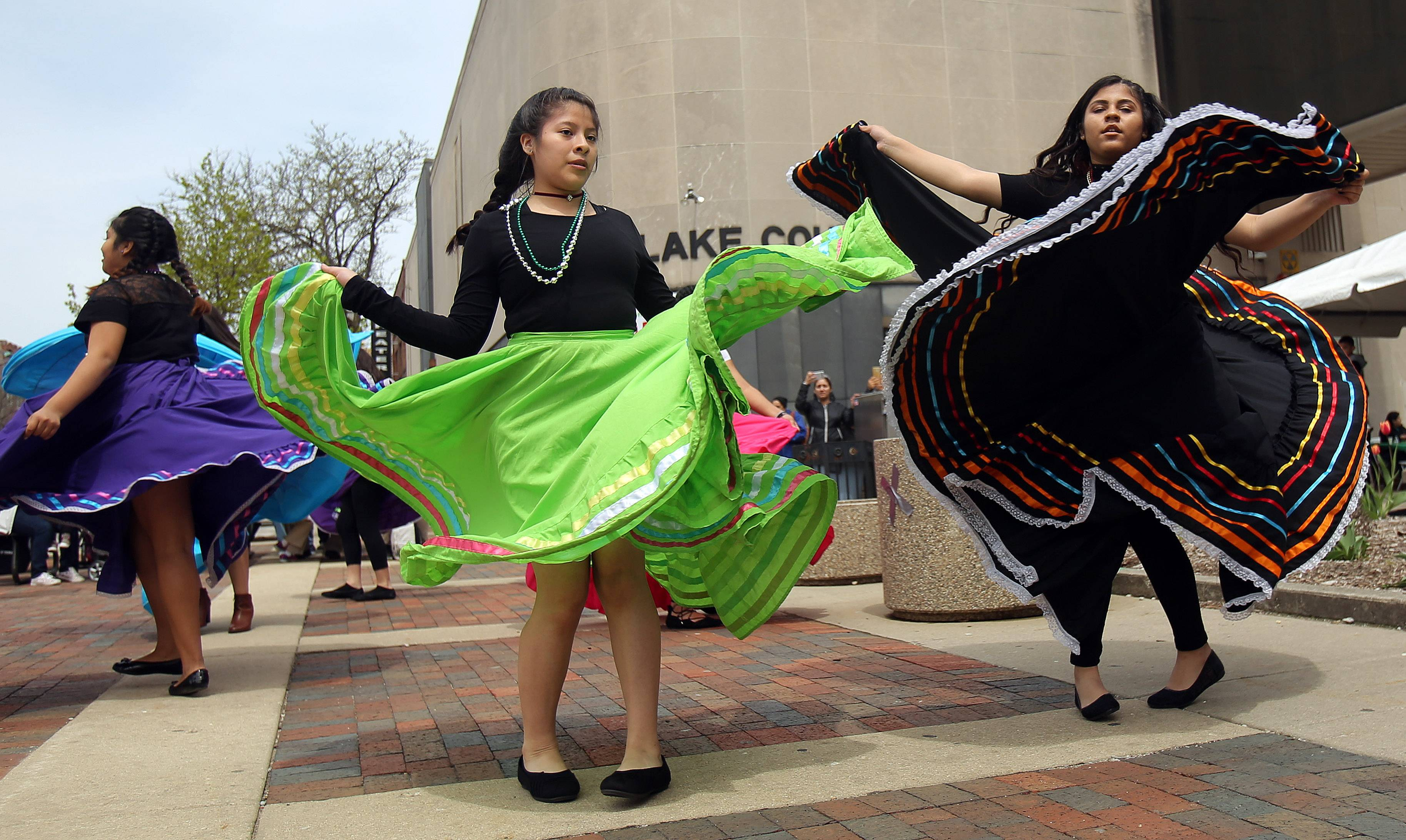 Folkloric dancers from Abbott Middle School in Waukegan perform Thursday during the College of Lake County's 14th annual Cinco de Mayo event at its Lake Shore Campus in Waukegan.
