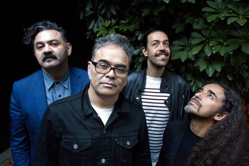 "In this April 28, 2017 photo, members of the Mexican rock band Cafe Tacvba, from left, Enrique ""Quique"" Rangel, Jose Alfredo ""Joselo"" Rangel, Emmanuel ""Meme"" del Real and Ruben Isaac Albarran pose for a portrait in Buenos Aires, Argentina. Cafe Tacvba is embracing its newfound independence with the release of the Mexican rock band's first album without a label in its nearly three-decade career. ""Jei Beibi� will be released on May 5, 2017. (AP Photo/Victor R. Caivano)"