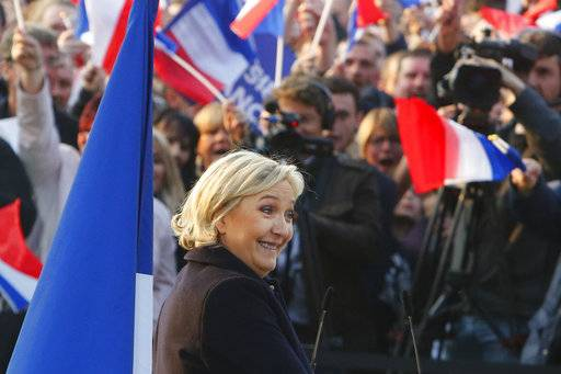French far-right leader and presidential candidate Marine Le Pen addresses people in Ennemain, northern France, Thursday, May 4, 2017. (AP Photo/Michel Spingler)