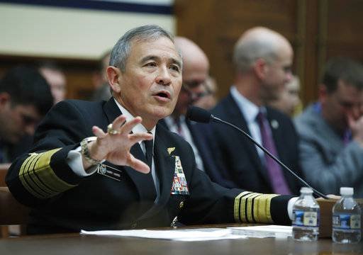 In this photo taken April 26, 2017, U.S. Pacific Command Commander Adm. Harry Harris Jr. testifies on Capitol in Washington. Determined to exert greater economic pressure on North Korea, the GOP-led House is expected to vote overwhelmingly to slap Pyongyang with new sanctions that target the wayward nation's shipping industry and use of slave labor. (AP Photo/Manuel Balce Ceneta)