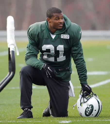 FILE - In this Dec. 9, 2015, file photo, New York Jets free safety Marcus Gilchrist watches during NFL football practice in Florham Park, N.J. The Jets have released Gilchris on Thursday, May 4, 2017, a move that appeared a strong possibility after the team drafted safeties with their first two picks last week. (AP Photo/Julio Cortez, File)