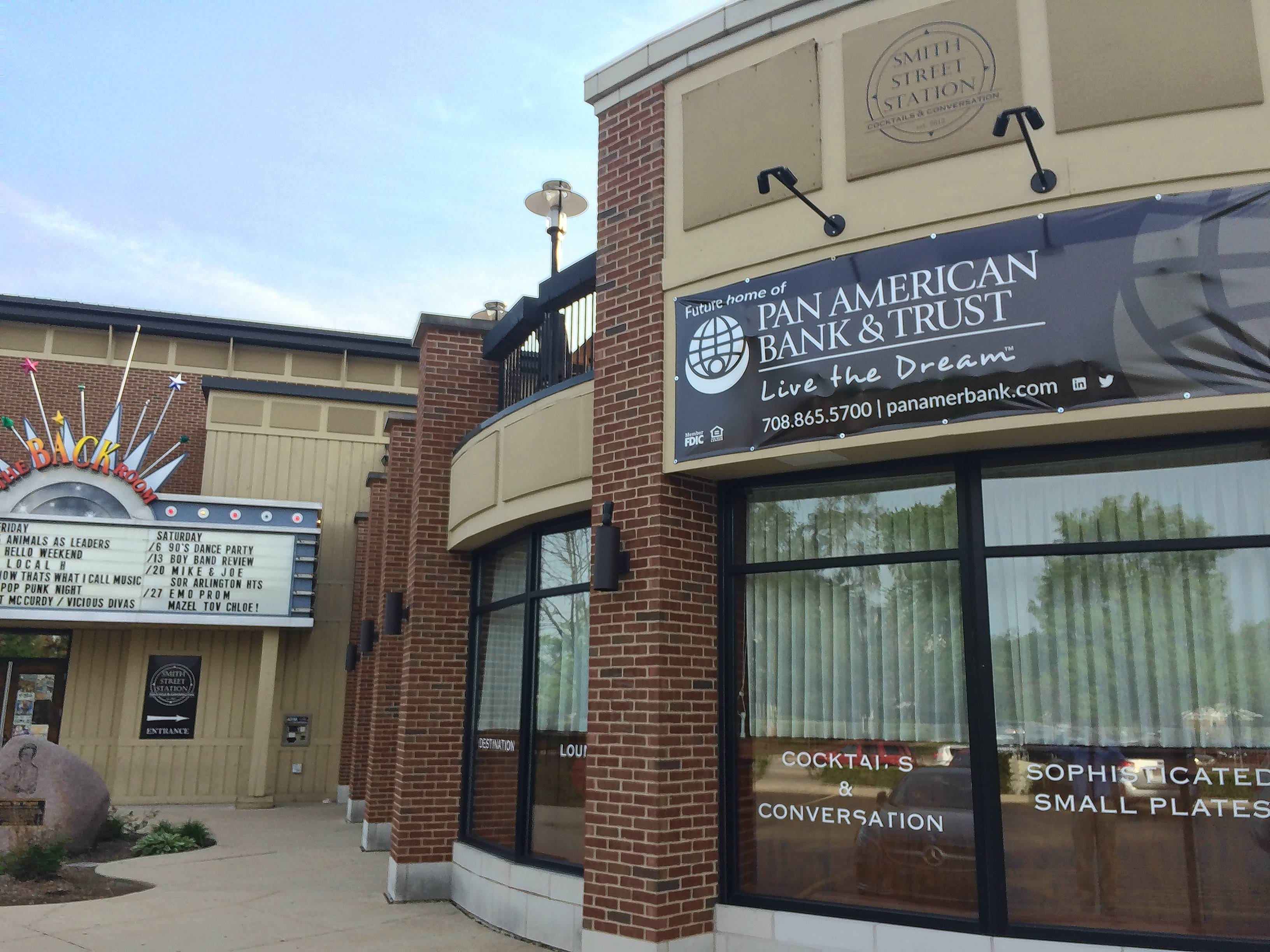 Pan American Bank and Trust plans to open in September in the former Smith Street Cocktails and Conversation in downtown Palatine. Pan American will move from its Northwest Highway location in Palatine.