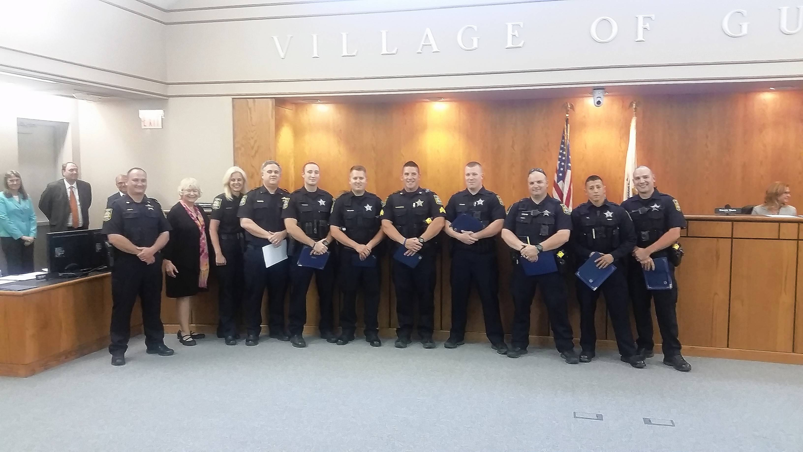 Seven Gurnee Police officers were recognized at the village board meeting Monday night for their excellence in enforcing traffic violations.