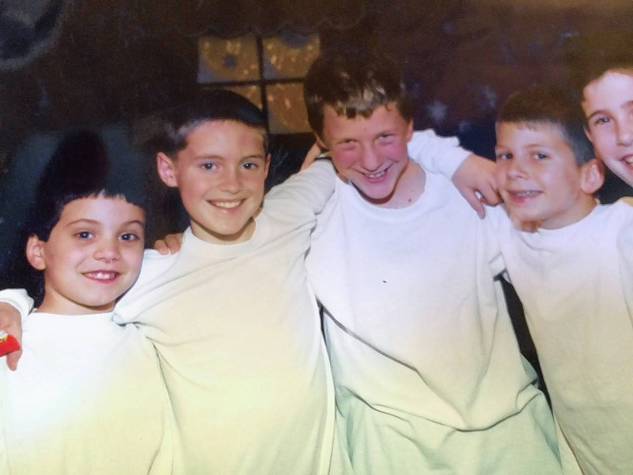 Joe Giovannetti, Harrison Scott, Max DeTogne, Collin Doruff and David Beiswenger, all in junior high, after a performance with Setting the State, circa 2008.