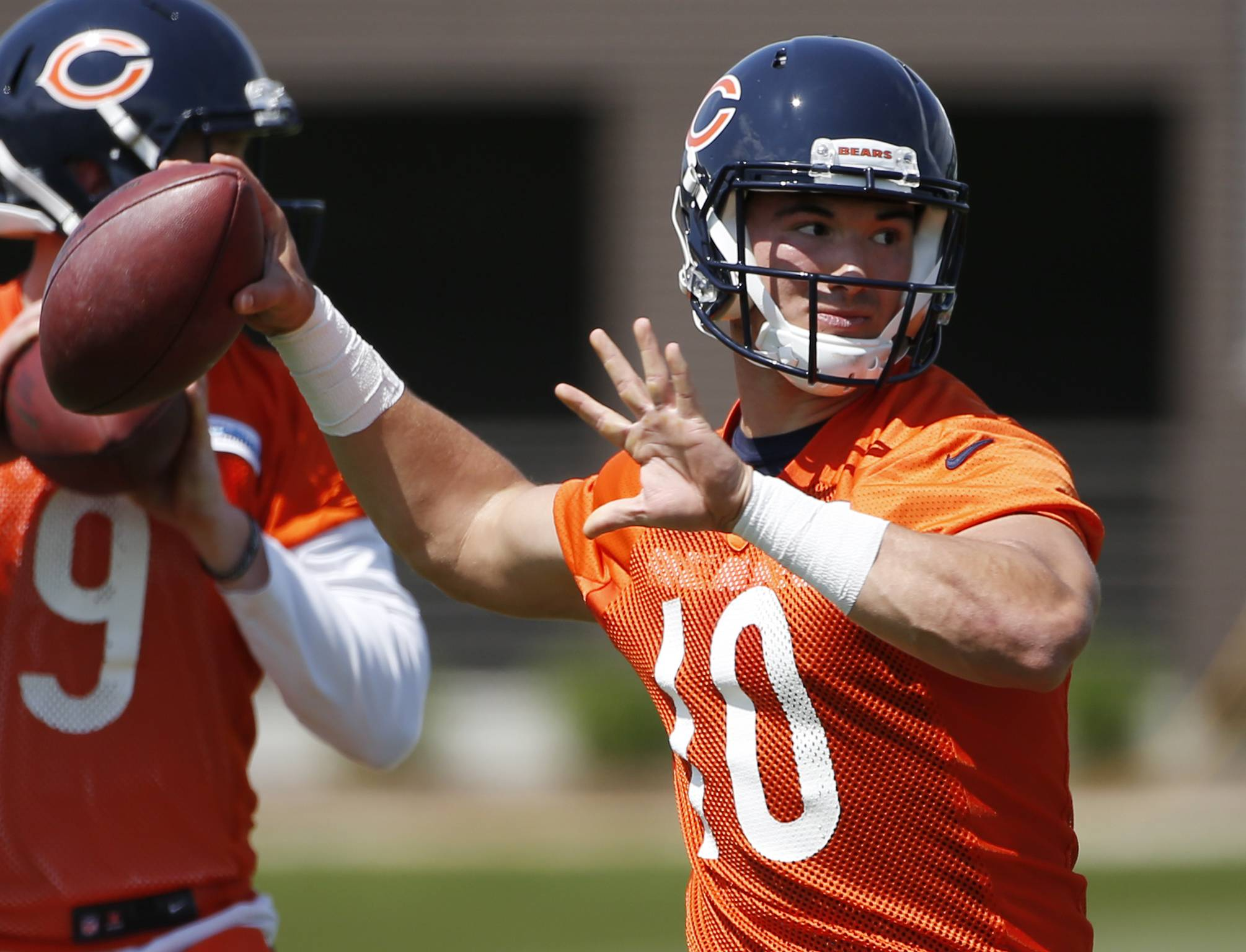 Chicago Bears quarterback Mitchell Trubisky looks to pass during NFL football rookie minicamp in Lake Forest, Ill., Friday, May 12, 2017. (AP Photo/Nam Y. Huh)