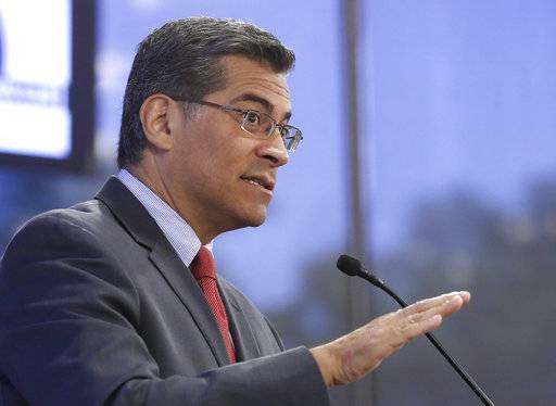 "California Attorney General Xavier Becerra criticized U.S. Attorney General Jeff Sessions recent announcement calling for a renewed crack down on criminals as ""crazy' and ""stupid"" while speaking at the Sacramento Press Club, Monday, May 15, 2017,in Sacramento, Calif. Sessions said that federal prosecutors should file the toughest charges possible against most crime suspects, which critics say is a throwback to what they call a failed war on drugs. (AP Photo/Rich Pedroncelli)"