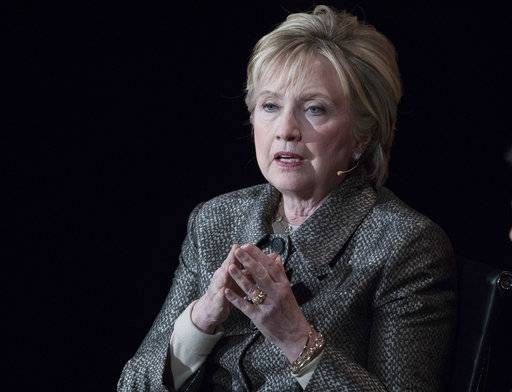"In this photo taken April 6, 2017, former Secretary of State Hillary Clinton speaks in New York. Hillary Clinton is launching a new political organization. The former Democratic presidential nominee unveiled ""Onward Together.� The organization, whose name is a riff of her campaign theme, ""Stronger Together,� aims to empower Democrats and liberal groups that are building a network of candidates in the 2018 mid-terms to oppose President Donald Trump. (AP Photo/Mary Altaffer)"