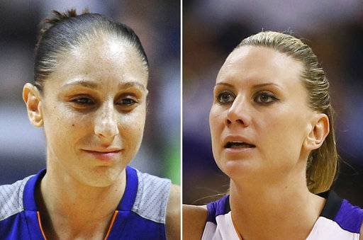 FILE - At left, in a Sept. 2, 2016, file photo, Phoenix Mercury's Diana Taurasi is shown during the second half of a WNBA basketball game in Uncasville, Conn. At right, in a Sept. 9, 2014, file photo, Phoenix Mercury forward Penny Taylor is shown during the second half of Game 2 of the WNBA basketball finals against the Chicago Sky in Phoenix. Diana Taurasi has married former Phoenix Mercury teammate Penny Taylor, then played in the team's season opener less than 24 hours later. The couple married Saturday, May 13, 2017. (AP Photo/File)