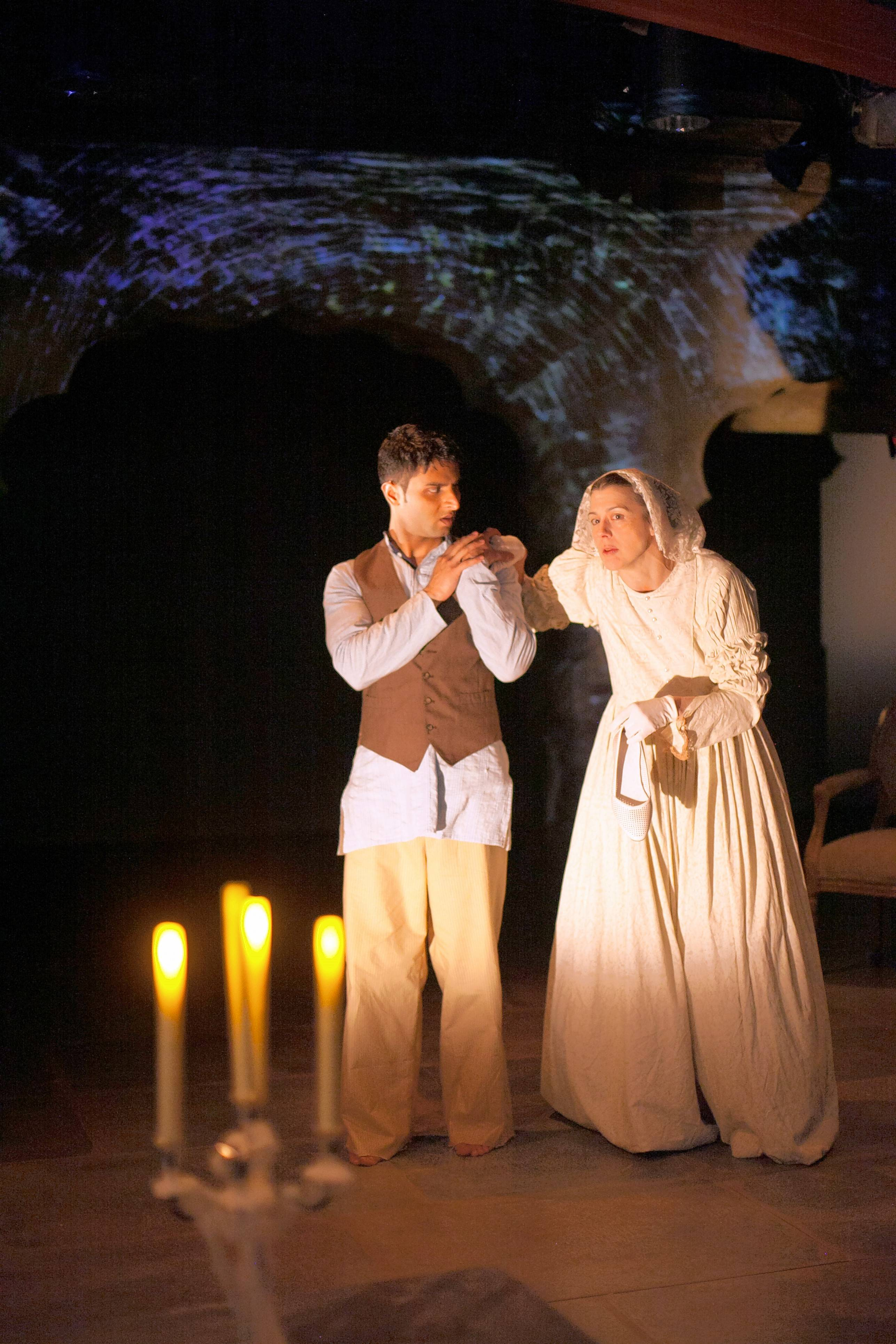 "Naperville's Anand Bhatt, left, plays Pip and Linda Gillum plays Miss Havisham in ""Great Expectations,"" an adaptation of Charles Dickens' classic set in 19th-century Calcutta in a co-production by Remy Bumppo Theatre and Silk Road Rising."