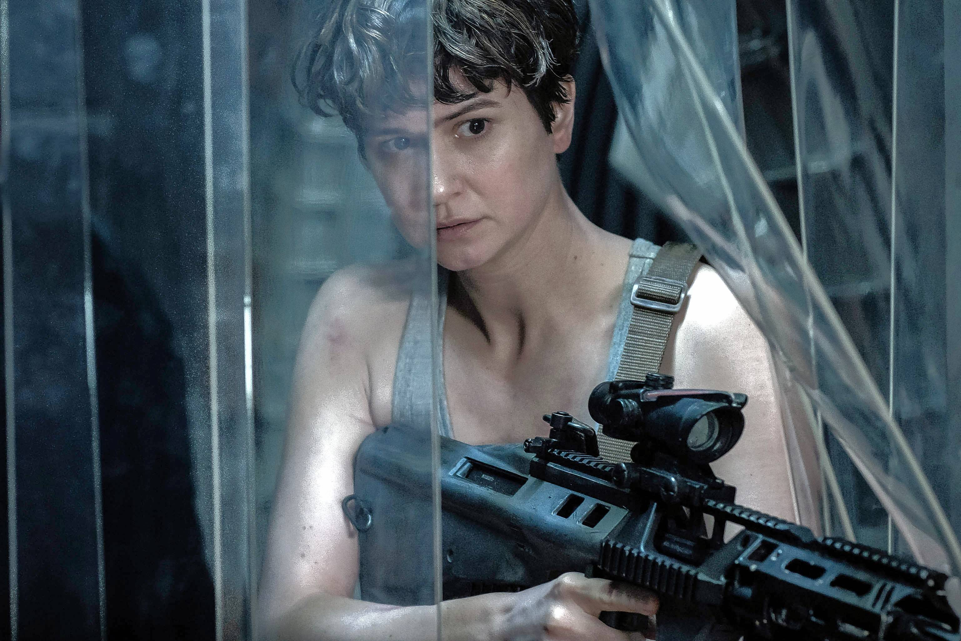 "An emotionally devastated Daniels (Katherine Waterston) takes charge in Ridley Scott's ""Alien: Covenant."""