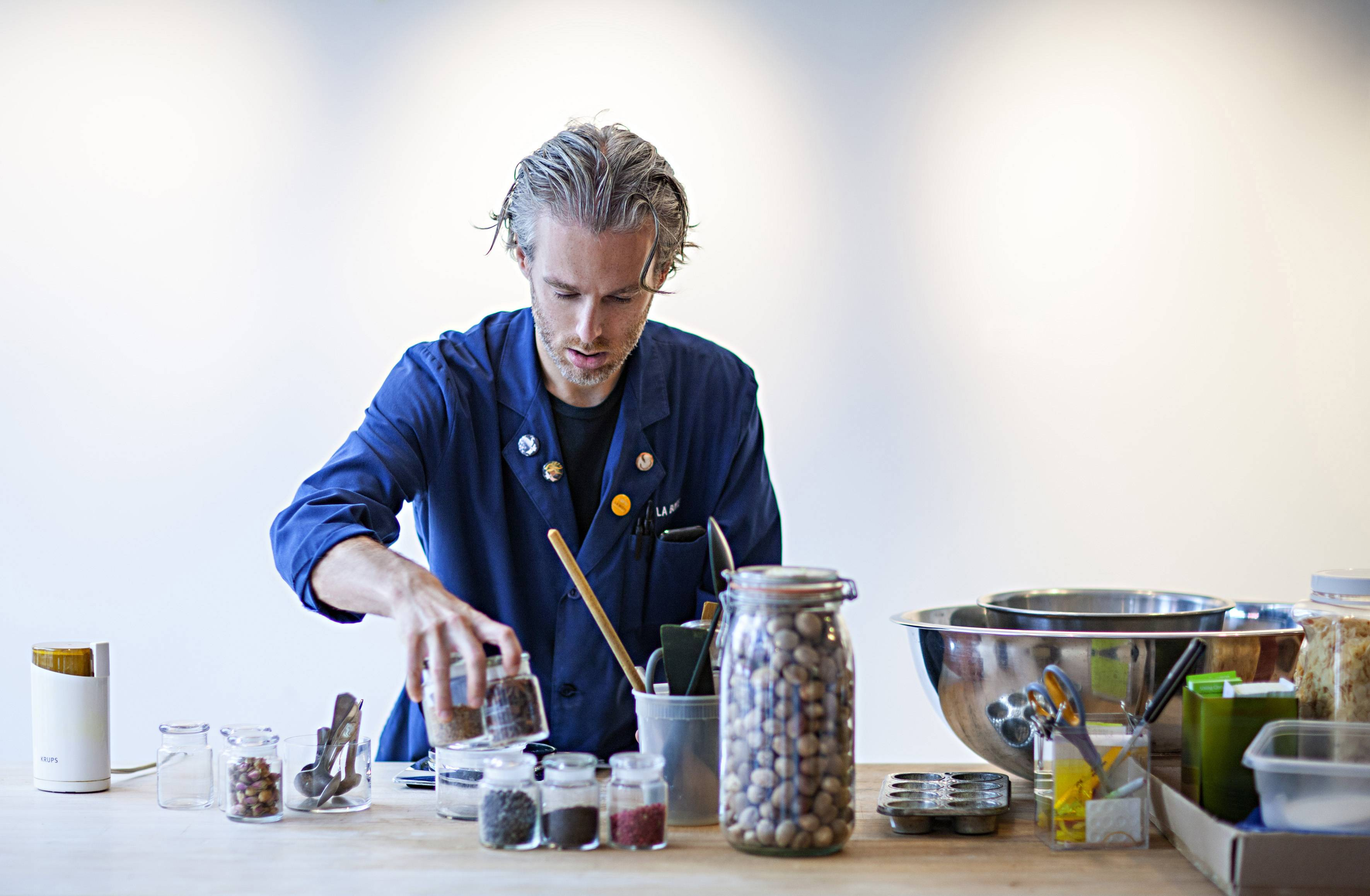Chef Lior Lev Sercarz blending spices at La Boîte, the spice shop he founded in 2009 in New York.