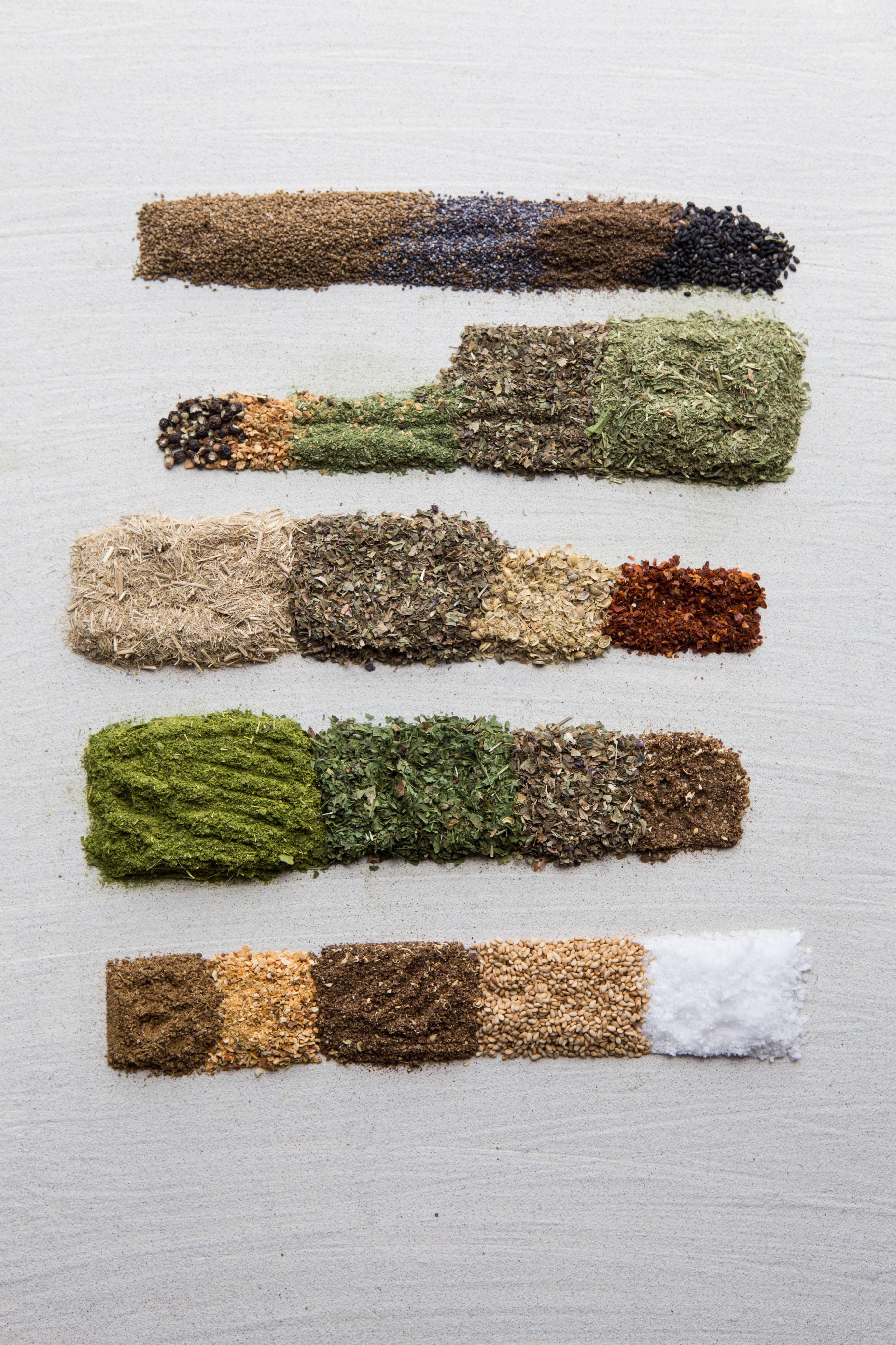 Spice blends that Sercarz recommends, from top: Apium, Estrago, Limonit, Muraya and Sal.