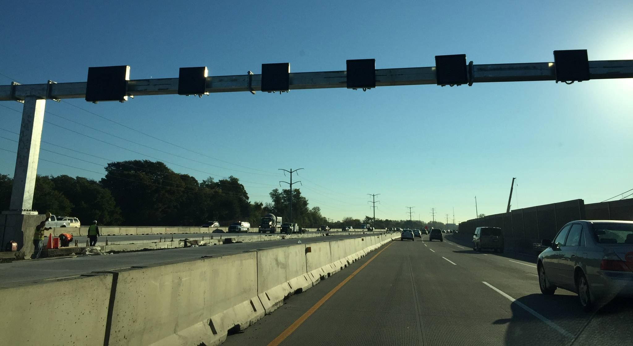A gantry over the new lanes of the Jane Addams Tollway (I-90) near Schaumburg will be activated this summer.