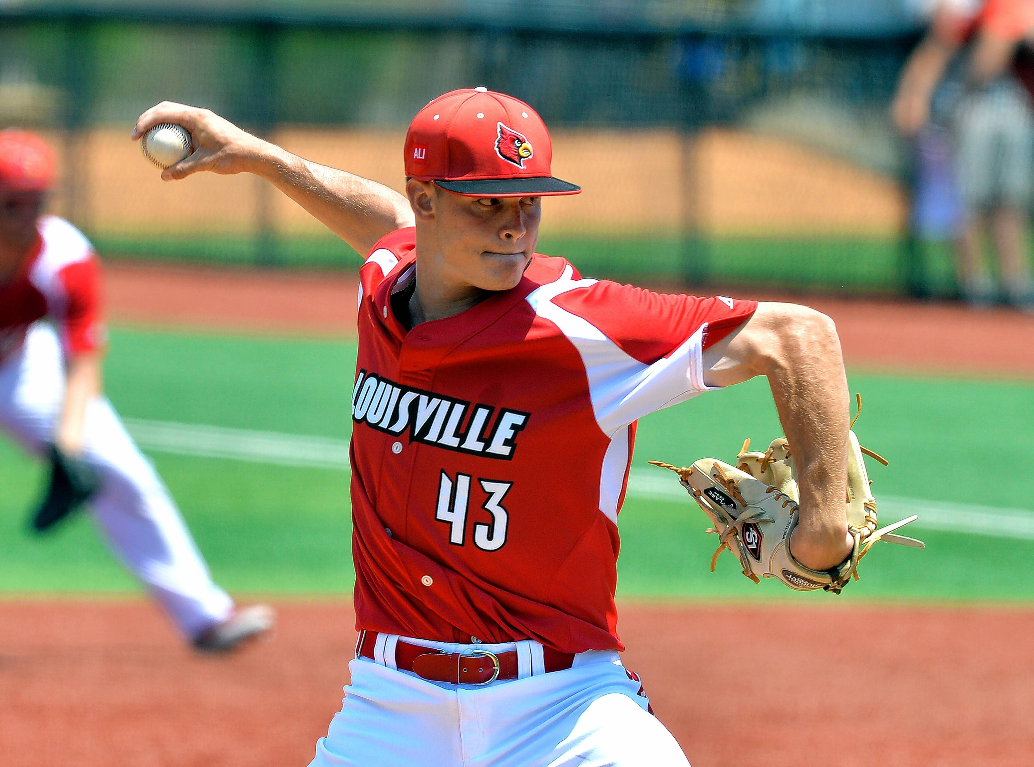 Louisville's Zack Burdi (43) pitches in to UC Santa Barbara side during the ninth inning of an NCAA college baseball tournament super regional game, Sunday, June 12, 2016 in Louisville Ky.