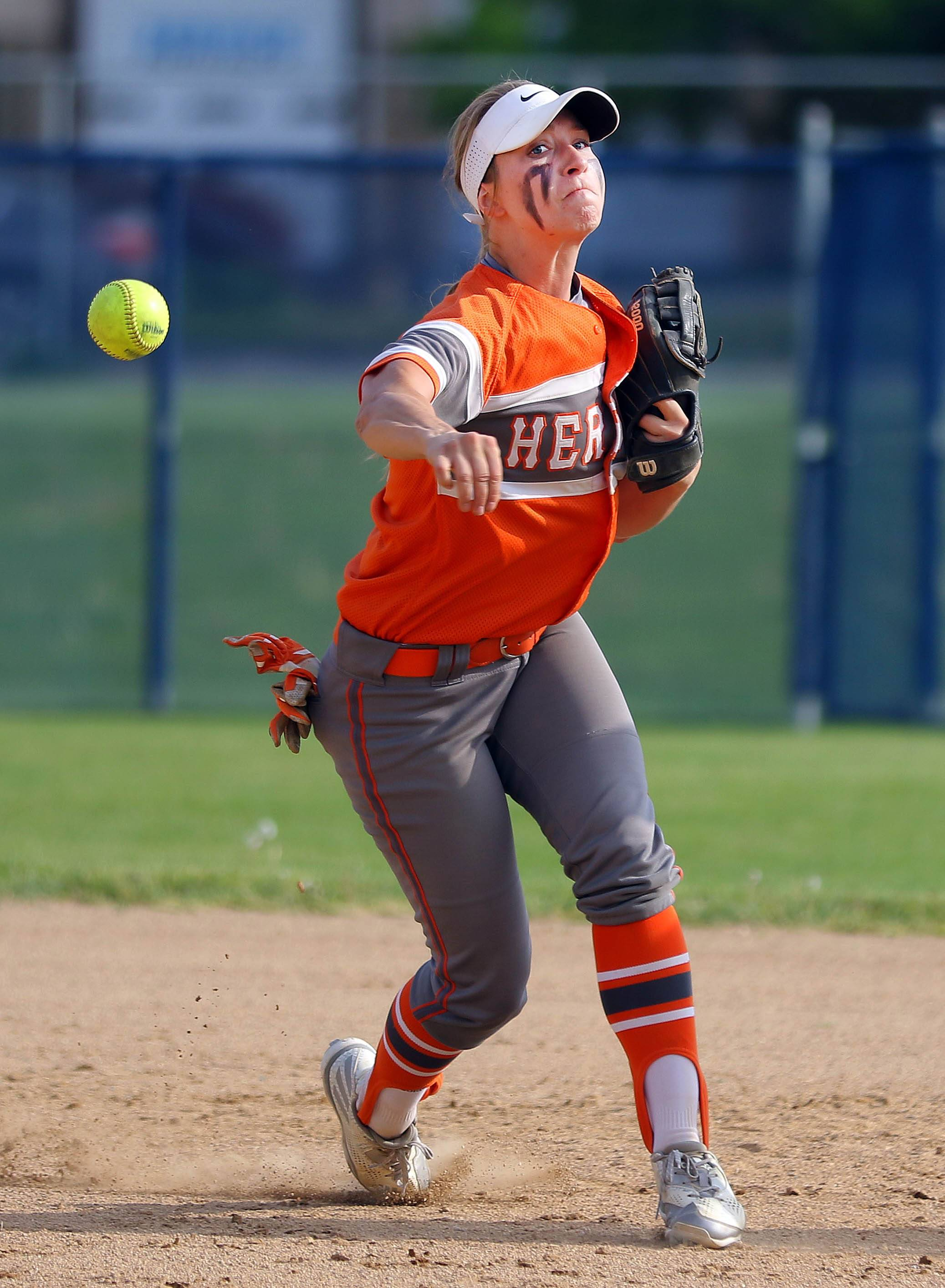 Hersey's Katie Wingerter fires to first during the Huskies' MSL East-clinching win Monday at Buffalo Grove.