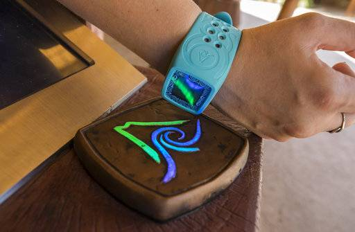 This undated photo provided by Universal Orlando Resort shows a wristband visitors will wear at the new Volcano Bay water park in Orlando, Florida. The wristband, called Tapu Tapu, tells you when it's your turn to get on a ride so you don't have to wait on line. It also lets you pay for food so you don't have to carry a wallet and opens lockers so you don't have to carry a key. (Universal via AP)
