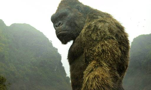 "This image released by Warner Bros. Pictures shows a scene from, ""Kong: Skull Island."" A musical version of ""King Kong"" is hoping to make Broadway go bananas. Officials at Global Creatures, the Australian company behind the hit arena show ""Walking With Dinosaurs,"" said Wednesday their version of the classic ape story will land in the fall of 2018 at the Broadway Theatre. (Warner Bros. Pictures via AP)"