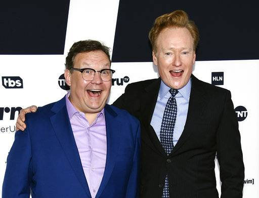 Talk show host Conan O'Brien, right, and his comic sidekick Andy Richter attend the Turner Network 2017 Upfront presentation at The Theater at Madison Square Garden on Wednesday, May 17, 2017, in New York. (Photo by Evan Agostini/Invision/AP)