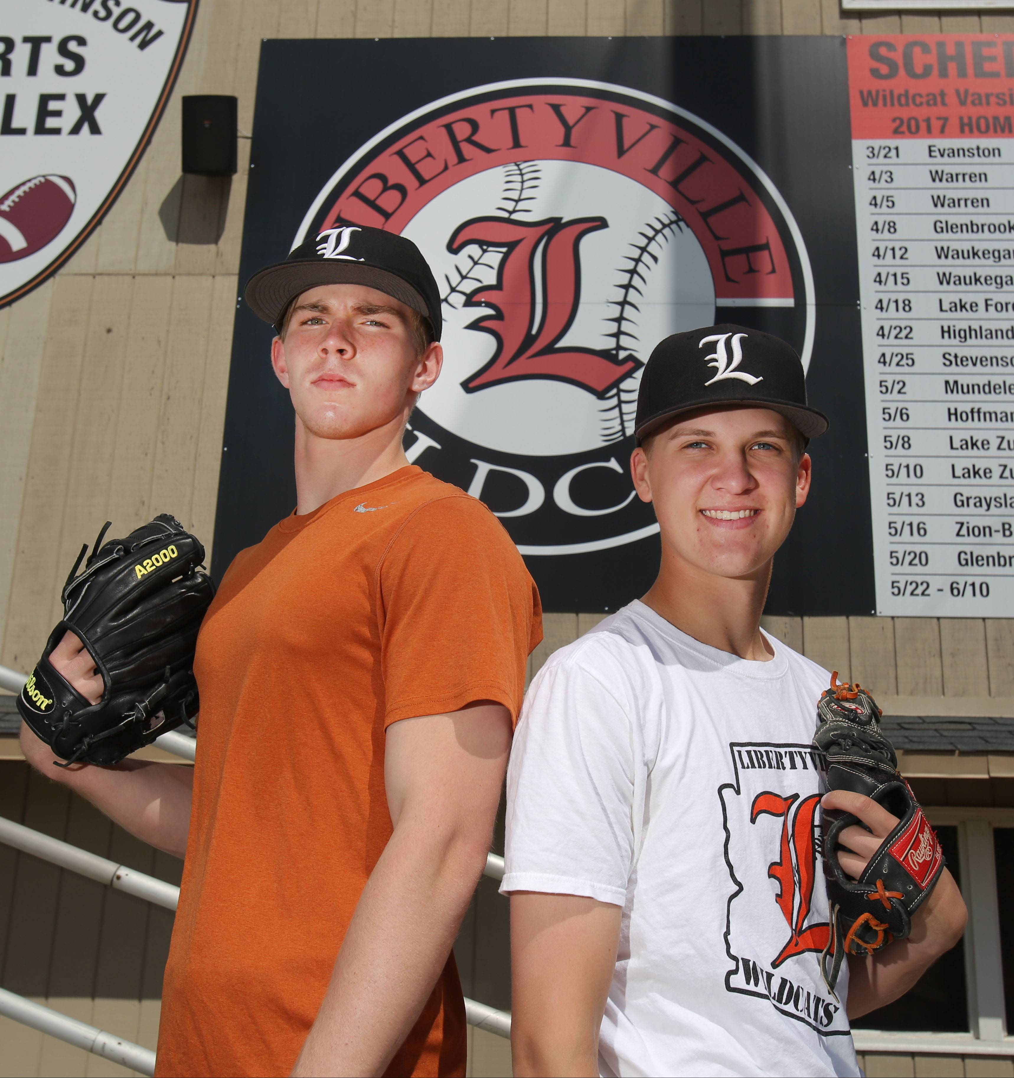 Libertyville senior pitchers Caleb Haddon, left, and Ben Land have helped Libertyville win the North Suburban Conference title and are going to pitch at the same college next year, DePauw University.