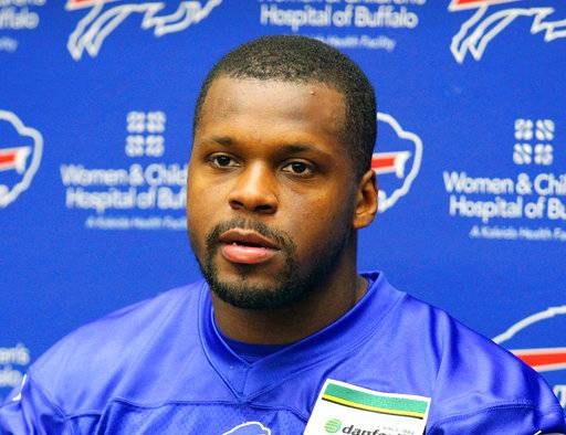 FILE - In this May 6, 2016, file photo, Buffalo Bills linebacker Reggie Ragland (59) speaks to the media during their NFL football team's rookie minicamp in Orchard Park, N.Y. Ragland has plenty to catch up on in returning to practice for the first time since tearing a ligament in his left knee during training camp last summer. (AP Photo/Bill Wippert, File)