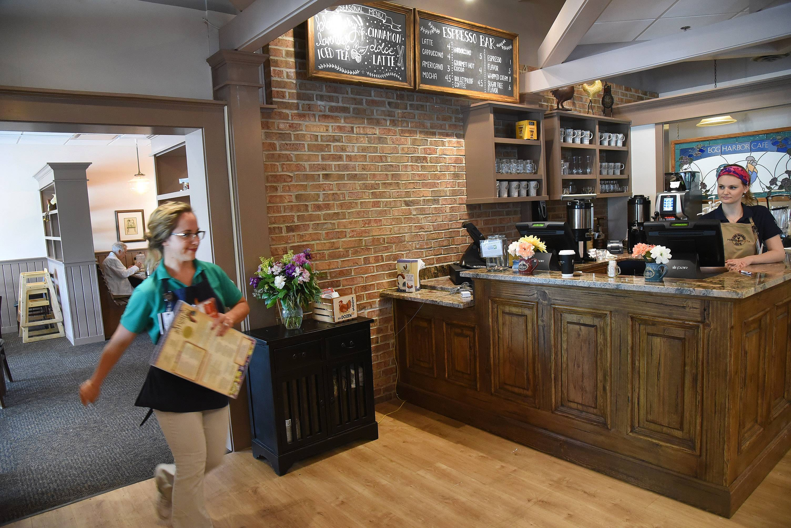 A new barista bar is part of the expanded Egg Harbor Cafe in downtown Arlington Heights. The restaurant is marketing the bar to commuters who want coffee to-go.