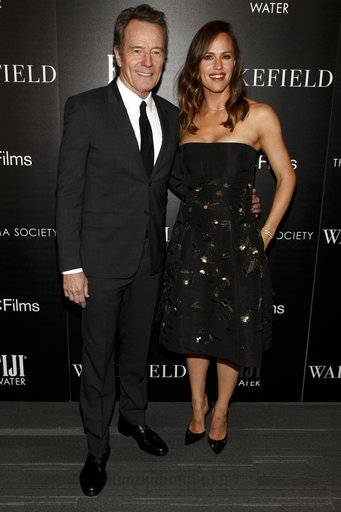 "Bryan Cranston, left, and Jennifer Garner, right, attend a special screening of ""Wakefield,"" hosted by The Cinema Society, at Landmark Sunshine Cinema on Thursday, May 18, 2017, in New York. (Photo by Andy Kropa/Invision/AP)"
