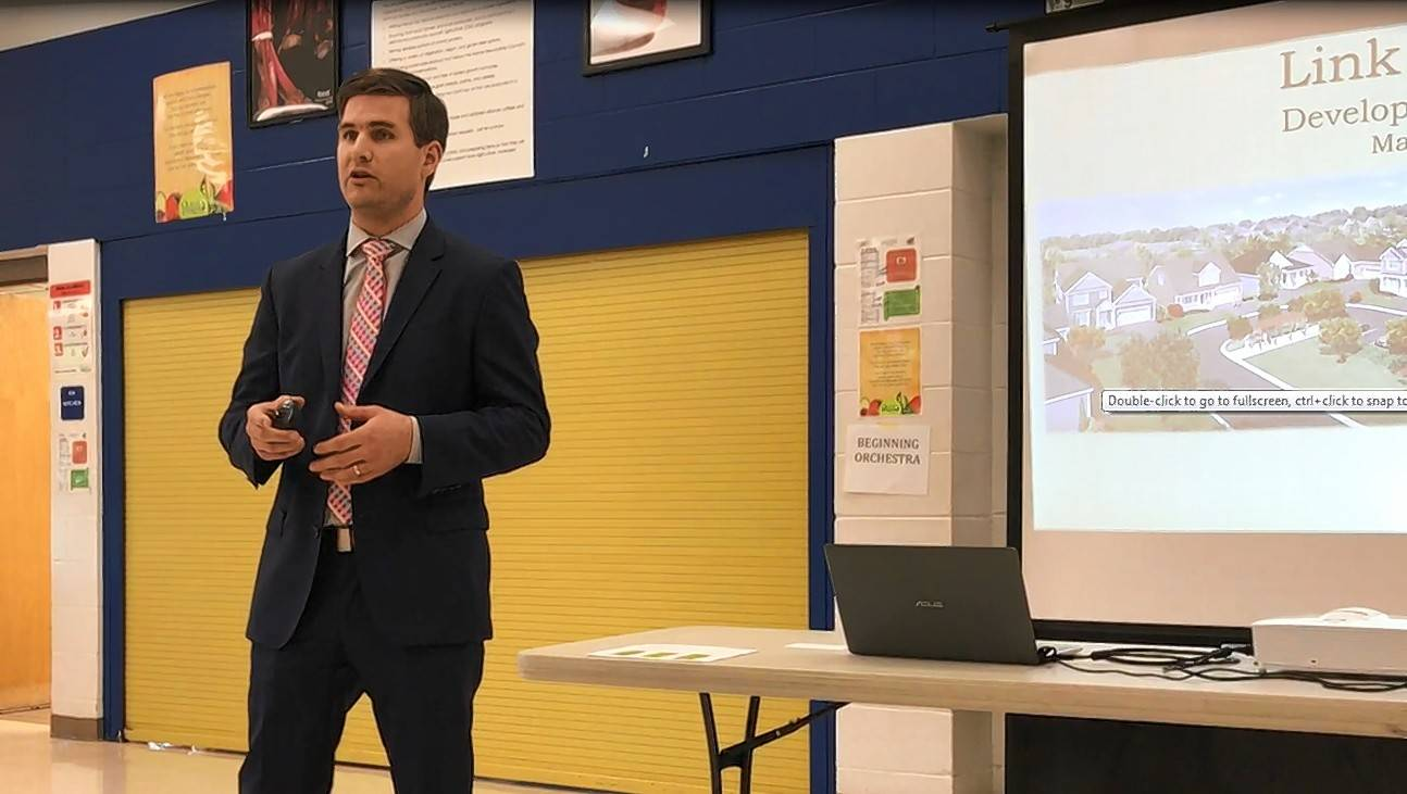 Jon Isherwood, land acquisition manager of K. Hovnanian, told about 35 people at Meridian Middle School in Buffalo Grove he wants their input as plans for Link Crossing are revised to make it more palatable to neighbors and village officials.