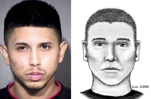 FILE - This photo and sketch combo shows an undated file photo provided by the Maricopa County Sheriff's Office of Aaron Saucedo, left, and a July 2016 composite sketch provided by the Phoenix Police Department showing a suspect in a series of fatal shootings in Phoenix. A judge has ordered the release of the court record that documents the evidence police have gathered in the investigation of Saucedo, accused in a string of serial killings, according to the judge's ruling made public Thursday, May 18, 2017. (Maricopa County Sheriff's Office and Phoenix Police Department via AP,File)