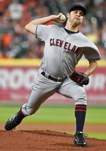Cleveland Indians starting pitcher Trevor Bauer delivers in the first inning of a baseball game against the Houston Astros, Friday, May 19, 2017, in Houston.